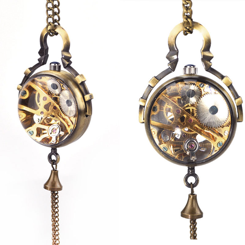 Steampunk Transparent Glass Ball Mechanical Pendant Pocket Watch Chain New P100 old antique bronze doctor who theme quartz pendant pocket watch with chain necklace free shipping