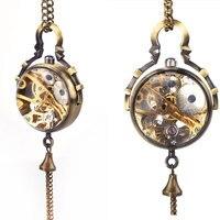 Steampunk Transparent Glass Ball Mechanical Pendant Pocket Watch Chain New P100