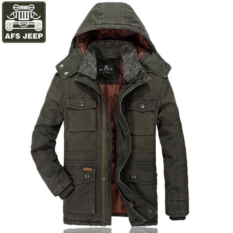 Afs джип бренд парка Для мужчин куртка зима толстые теплые парки Hombre Invierno с капюшоном, хлопковая куртка ветровки для Для мужчин