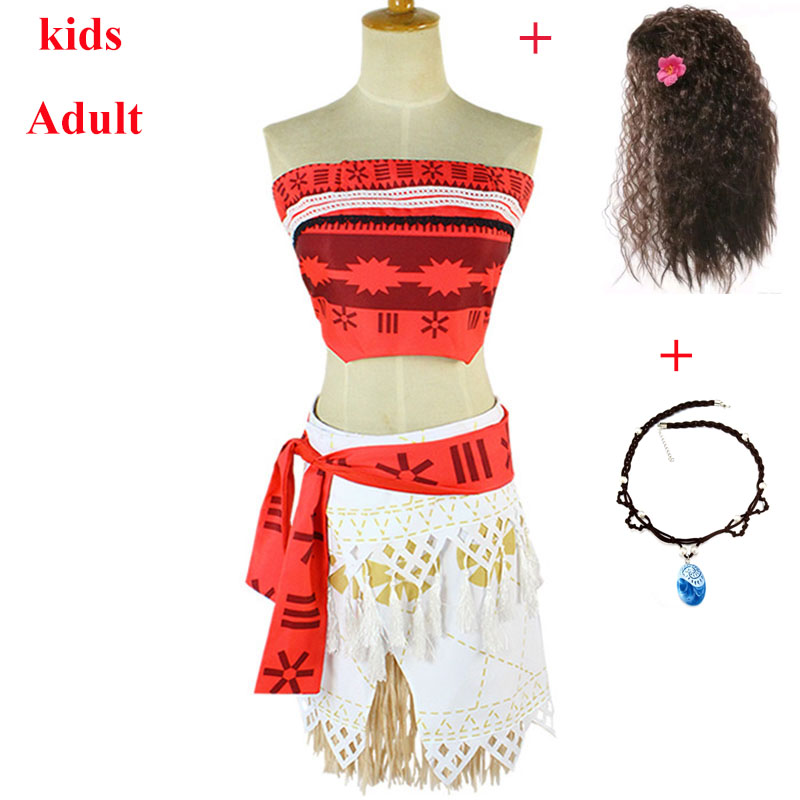 Adult Kids Princess Vaiana Moana Costume Dresses With Necklace Wig Women Girls Halloween Party Moana Dress Cosplay Full Set