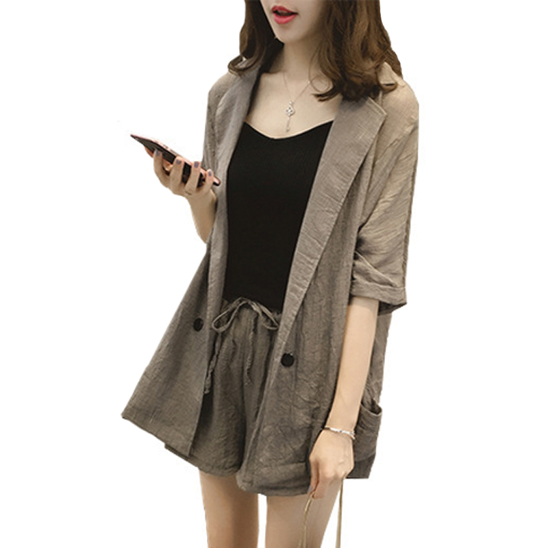 Women 2 Pieces Sets Small Work OL Suit Female Blazer And Short Suit Set Office Lady Coat Sexy Chic Suit