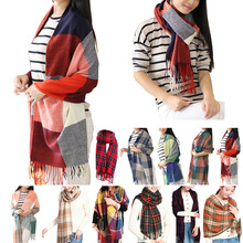 2015 Women Fashion Winter Warm Plaid Scarf Ladies Artificial Long Wrap Shawl Tartan Knit Scarves 11 Colors Freeshipping C1