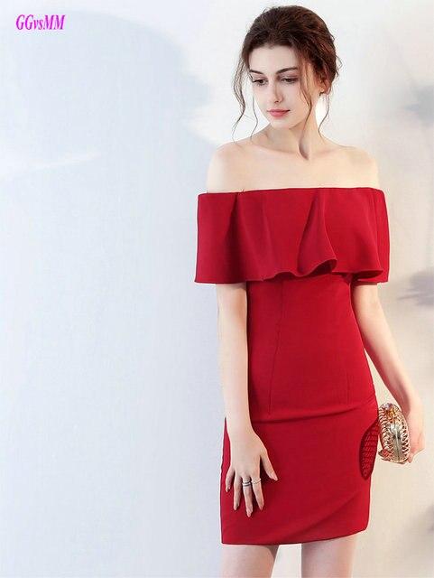 Glamor Merah Gaun Koktail 2018 Baru Seksi Strapless Satin Panjang