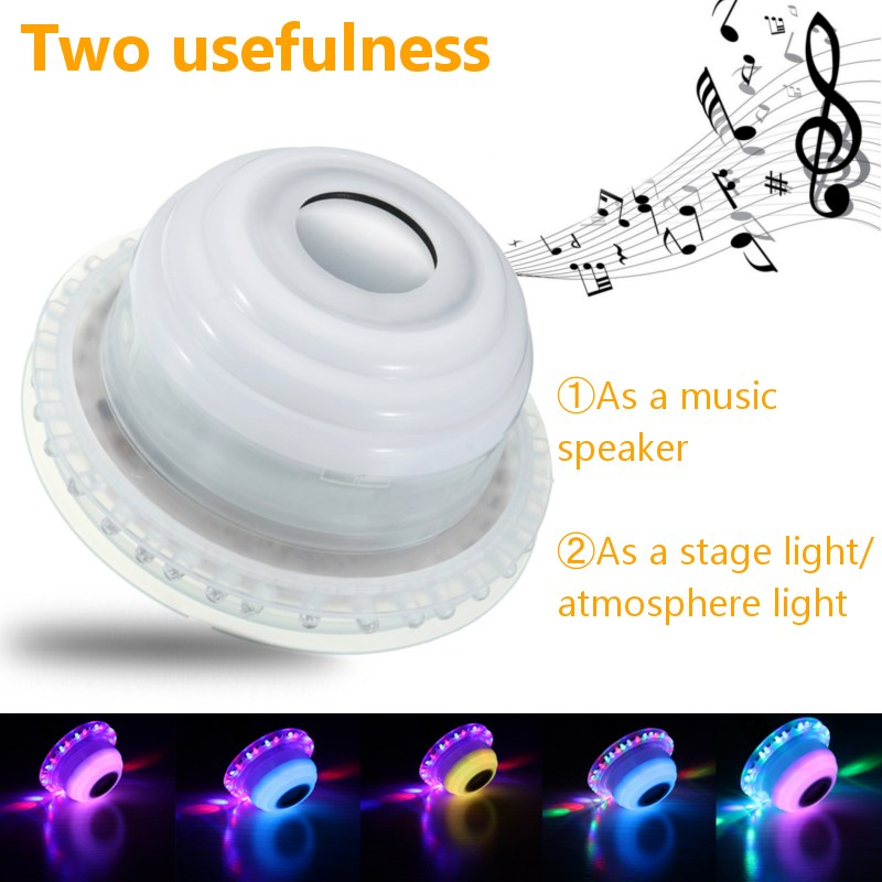 E27 RGB LED Light Bulb Wireless Bluetooth Speaker Music Playing Lamp Bulb Lighting Muis Bulb With Remote Controller AC110-240V