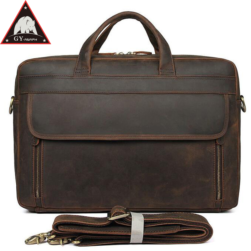 купить ANAPH Original Crazy Horse Office Work Bag For Men, Genuine Leather Business Briefcase Attached 17 Inch Laptop Bag In Dark по цене 8557.47 рублей