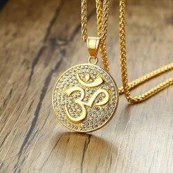 ZORCVENS Rock OM Necklaces Gold Tone Stainless Steel with Shinny CZ Stones Pendants Aum Sanskrit Yogi Mens Necklace
