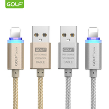 ФОТО golf smart led light usb charging cable for iphone 6 6s 7 8 plus x 5 5s se phone charger usb data sync cable metal weaving 1m