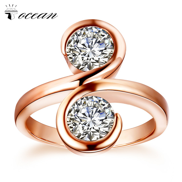 Tocean Rose Gold Color Wedding Rings for Women Round Cute AAA Zircon Engagement Femme Smooth Simple Bijoux Bague Size 5-12 W015