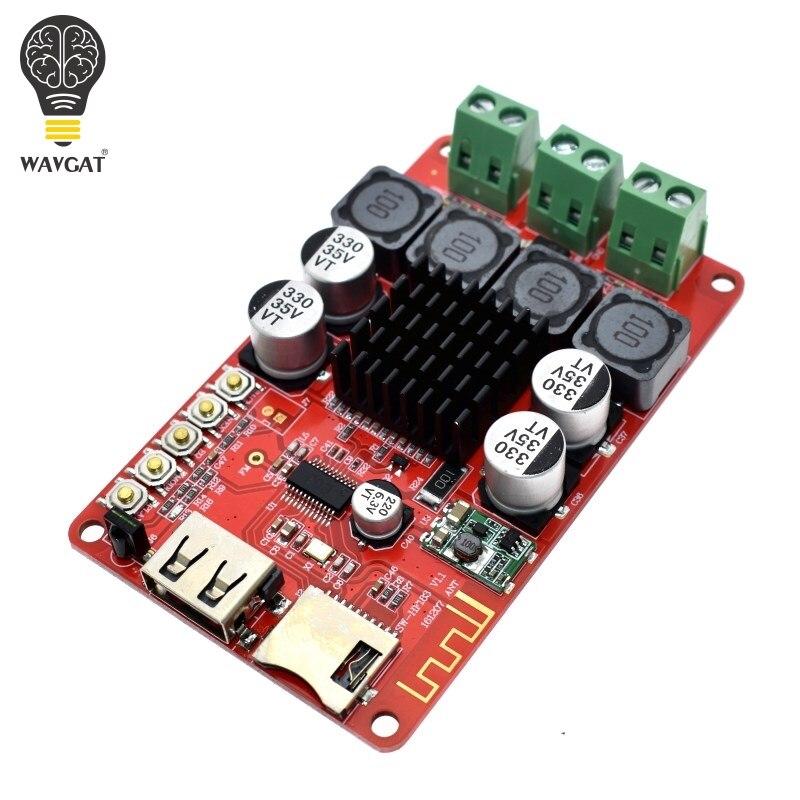 WAVGAT TPA3116 50W+50W Bluetooth Receiver Digital Audio Amplifier Board TF  card U disk player FM Redio With Remote control