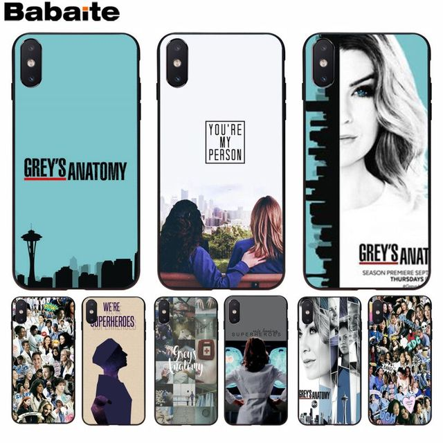 Babaite Grays Anatomia da TV Americana Popular Projeto Original Tampa Do Telefone para o iphone 8 7 6 6 S Plus X XS MAX 5 5S SE XR Celulares