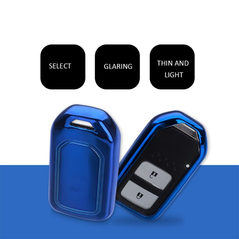 Smart Car Key Fob Chain Ring Cover Holder Case Accessories Blue Fit For Honda