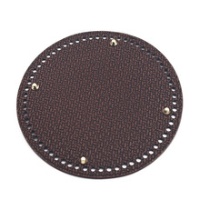 19*19cm Circle Bottom for Knitting Bag Bottoms with Holes Braided Leather Handbag Shoulder Handmade Accessories Brown