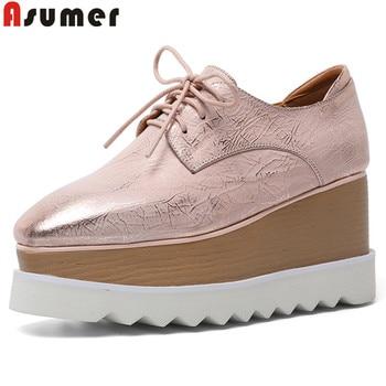 ASUMER big size 34-42 fashion pumps shoes lace up genuine leather shoes platform wedges shoes Thick sole elevator shoes women