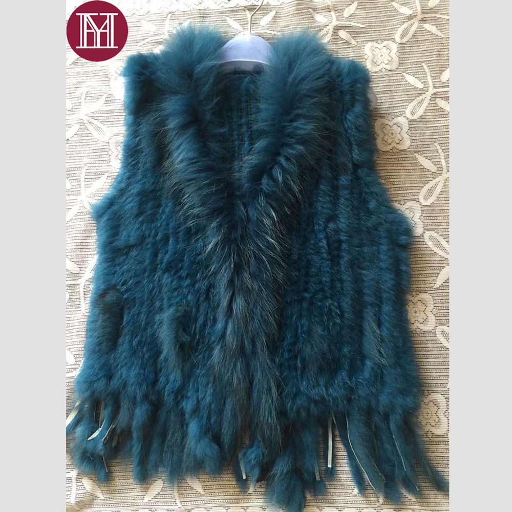 2018 Women natural rabbit fur vest with raccoon fur collar female real rabbit fur coat sleeveless