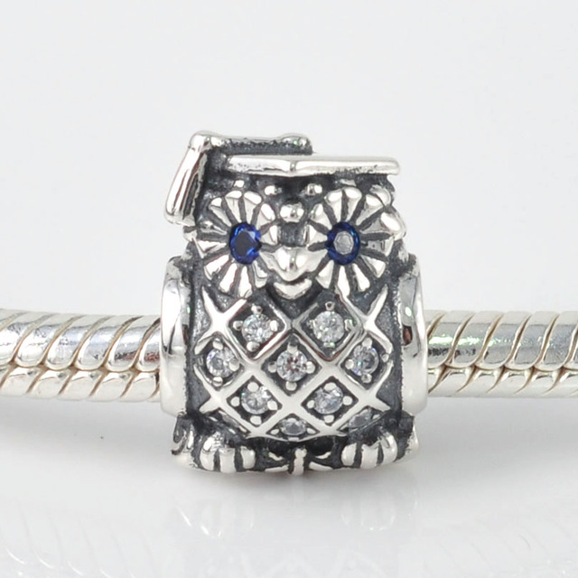 509fcd7f58 Original 925 Sterling Silver Smart Owl With Clear CZ Charm Bead Fits Pandora  Charms Bracelets DIY Jewelry Making