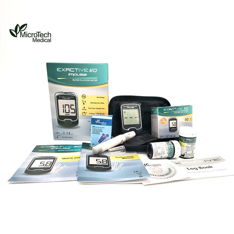 MICROTECH MEDICAL EQ Импулсни измерватели на кръвна глюкоза Монитор Диабетици Тест 50 ленти, игли и ланцет (без код) Тест за кръвна захар