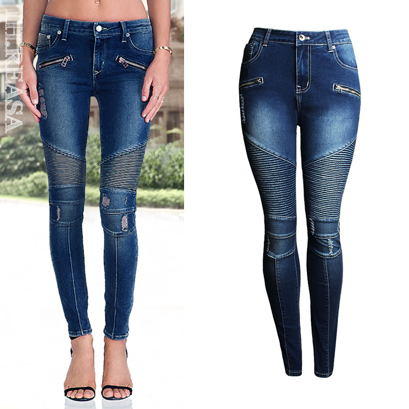 824483ff5d7 New Biker Jeans Women Stretch Push Up Jeans 2018 Motorcycle Biker Zip Mid High  Waist Stretchy Skinny Pants Motor Jeans For Women-in Jeans from Women s ...