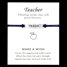 Teach Apple Teacher Charm Bracelets Graduation Antique Silver Blue Mint Red Women Men Handmade Fashion Jewelry with Card