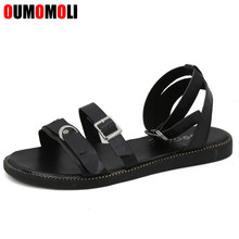 2019 leisure style comfortable summer sandal fashion belt buckle narrow band black brown Three buckle women's shoes E103(China)