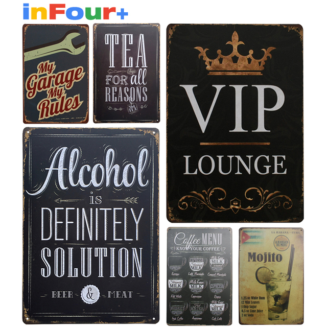 [ VIP ] Shabby Chic Metal Poster Vintage Metal Signs Home Decor Vintage Tin  Signs Pub