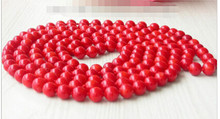 "DYY+++818 Long 50"" Natural Red Round Coral beads Necklace(China)"