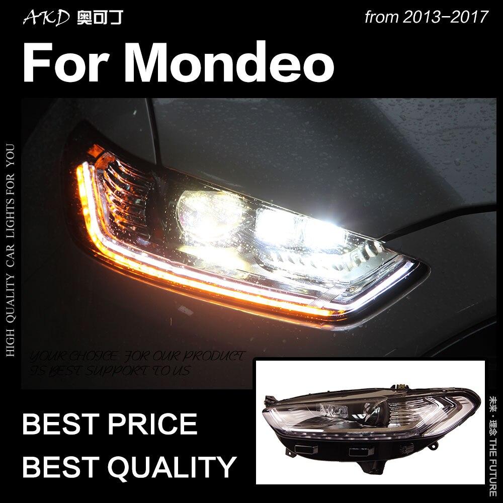 AKD Estilo Do Carro para Ford Fusion Mondeo LEVOU Cabeça Da Lâmpada Do Farol 2013-2017 H7 D2H Hid Bi do Sinal Dinâmico xenon Feixe de LED Acessórios