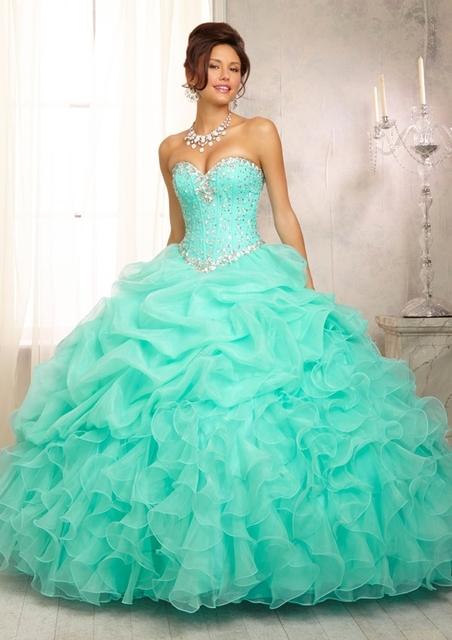 Em estoque organza ruffled verde limão quinceanera debutante vestido para 15 anos masquerade vestidos vestido barato 15 com pedras AB