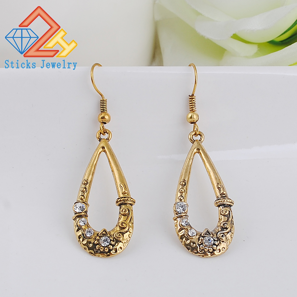 Retro Earrings (1pair / lot) 100% Environmentally Friendly Zinc Alloy Plating Ancient Silver Gold Ladies
