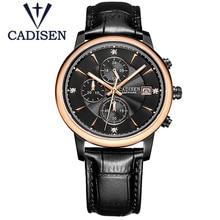 2017 Hot Sale Clock CADISEN Brand Chronograph Casual Quartz Sport Wristwatch Mens Genuine Leather Watch Relogio Masculion