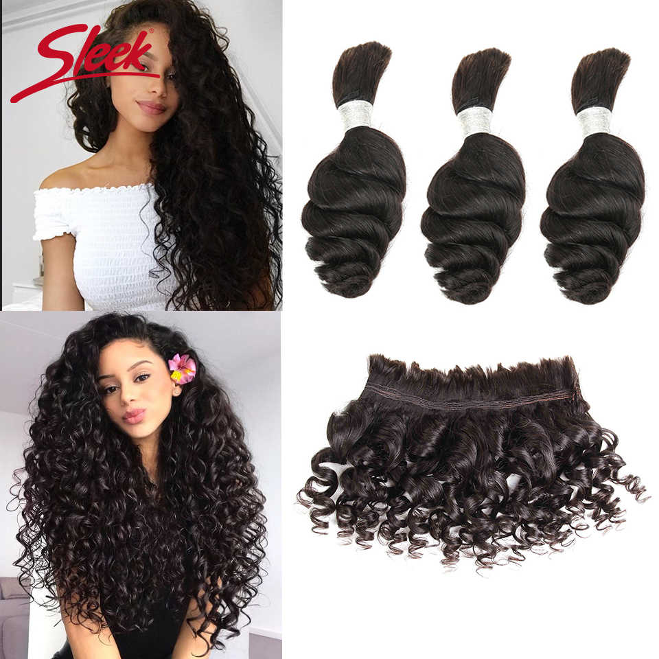 Sleek Remy Human Hair Malaysian Loose Wave Bundles Hair For Braiding In Natural Color 8 To 30 Inches Braids No Weft Hair Bulk