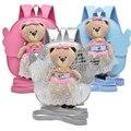 Новый ПУ Симпатичный Медведь Ангел Анти-потерянный Рюкзаки Подарок для Детей Мультфильм Мешок Школы для Малыша с Съемный Кукла 5 Цветов