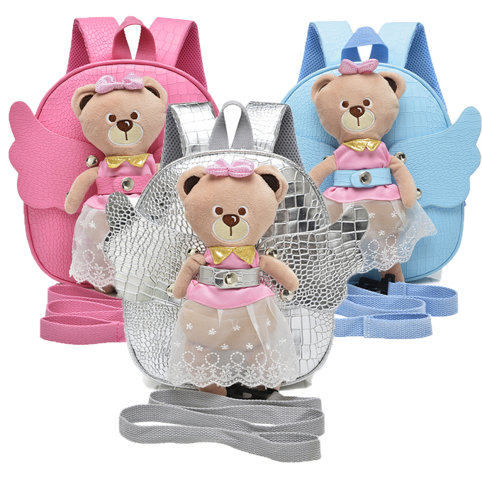 New 2017 PU Cute Bear Angel Rabbit Anti-lost Kids Backpack Gift for Children Cartoon School Bag for Girls with Detachable Doll