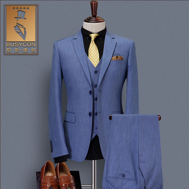Navy Blue Wedding Suits For Men Slim Fit Groom Prom Tuxedos 2018 3 ...