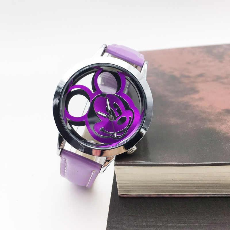 Nouveau dessin animé souris creux cadran montre pour femme Quartz analogique en cuir poignet dames robe montre pour femmes fille mode cadeau