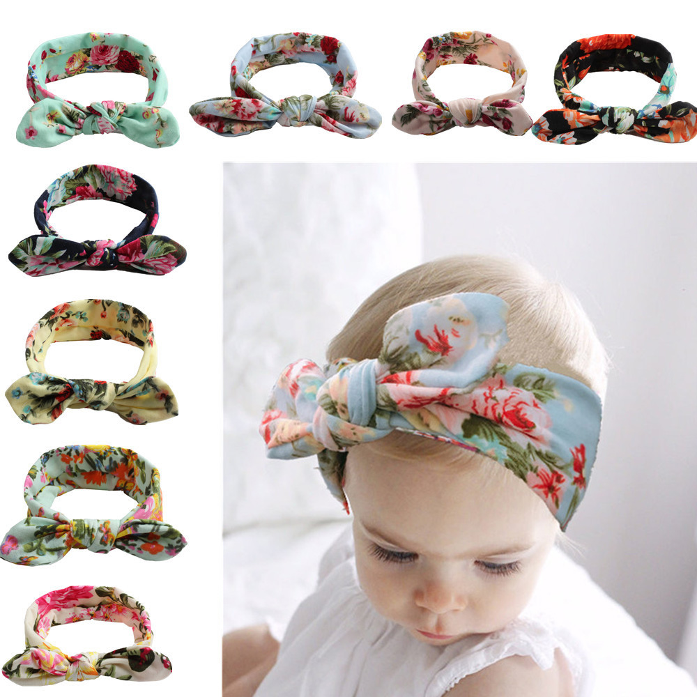 Colorful Boho Newborn Toddler Headband Ribbon Elastic Baby Headdress Kids Hair Band Girl Bow Knot Baby Girl Headbands
