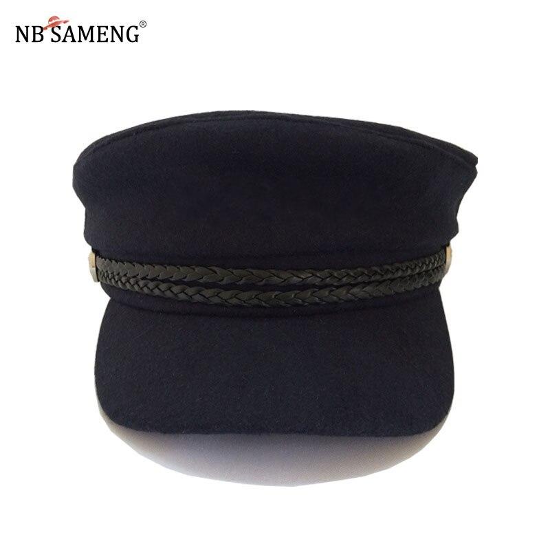 2018 Retro Cap Women Winter Hats Unisex Wool Button Baseball Caps Sun Visor Hat Vintage Female Men Casual Navy Cap