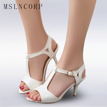Plus Size 34-43 Women Sandals peep toe T strap ladies High Heels sandals Fashion Summer Square Women Casual Sandals Roman shoes ladies transparent square high heel sandals sexy peep toe mesh ankle boots summer high heels sandals women size 34 40