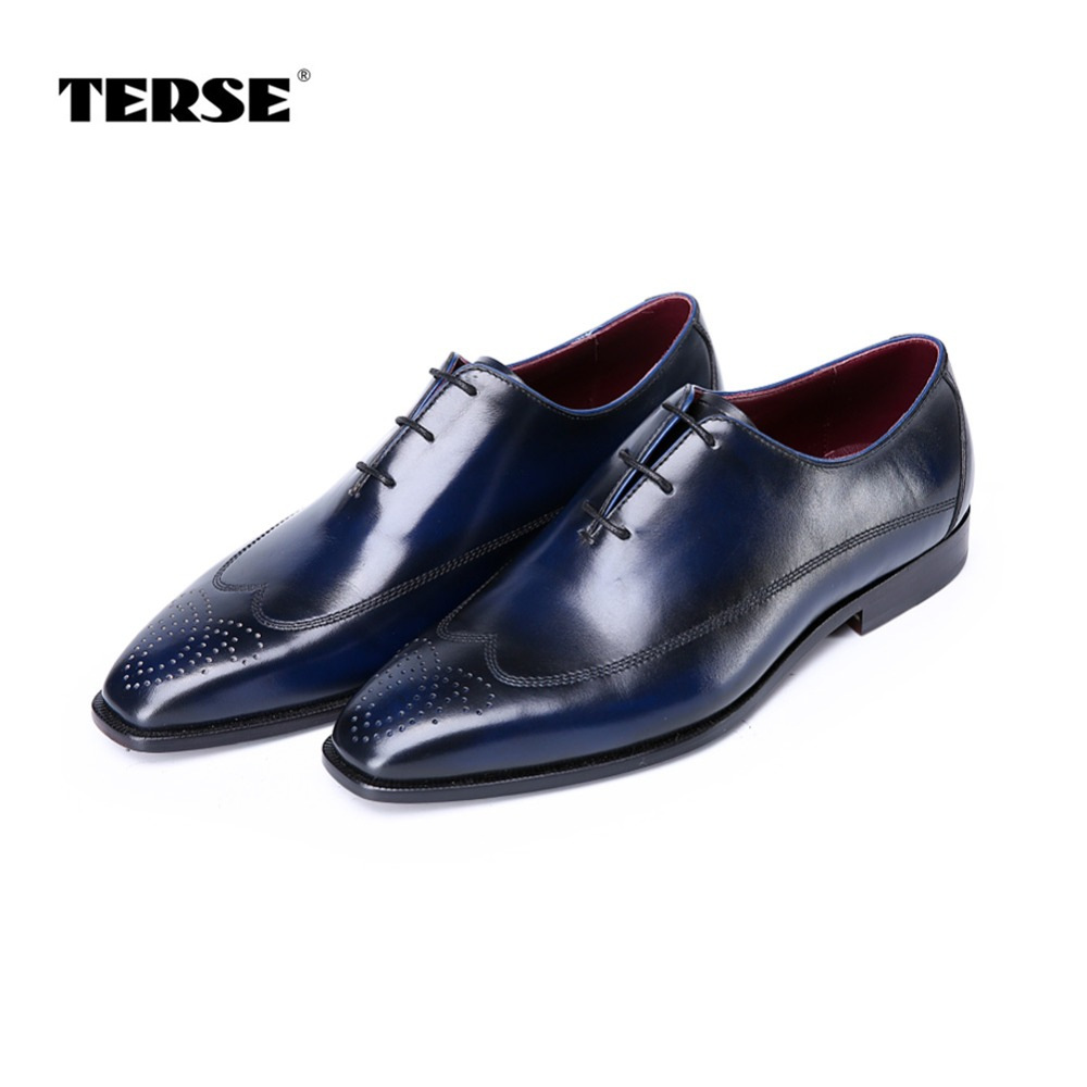 TERSE_2017 New release handmade leather mens dress shoes goodyear welted genuine leather oxfords for male luxury flat shoes 2016 luxury mens goodyear welted oxfords shoes vintage boss brogue shoes italian mens dress shoes elegant mens gents shoes derby