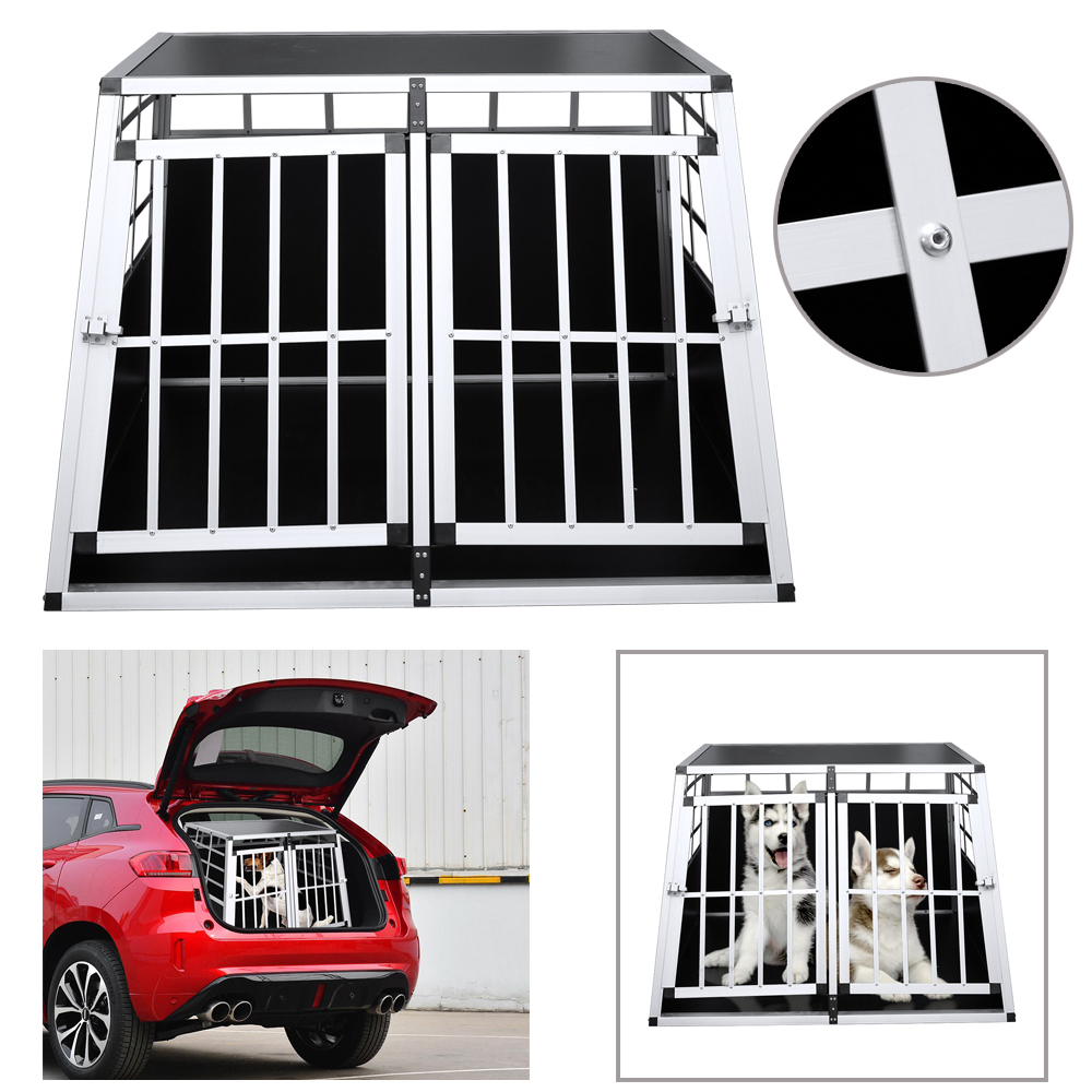 97x90x69.5cm Double door Cat Pet Dog Transport Box Car Travel accessories cage front 65 degree rear 90 degree Dog Transport cage