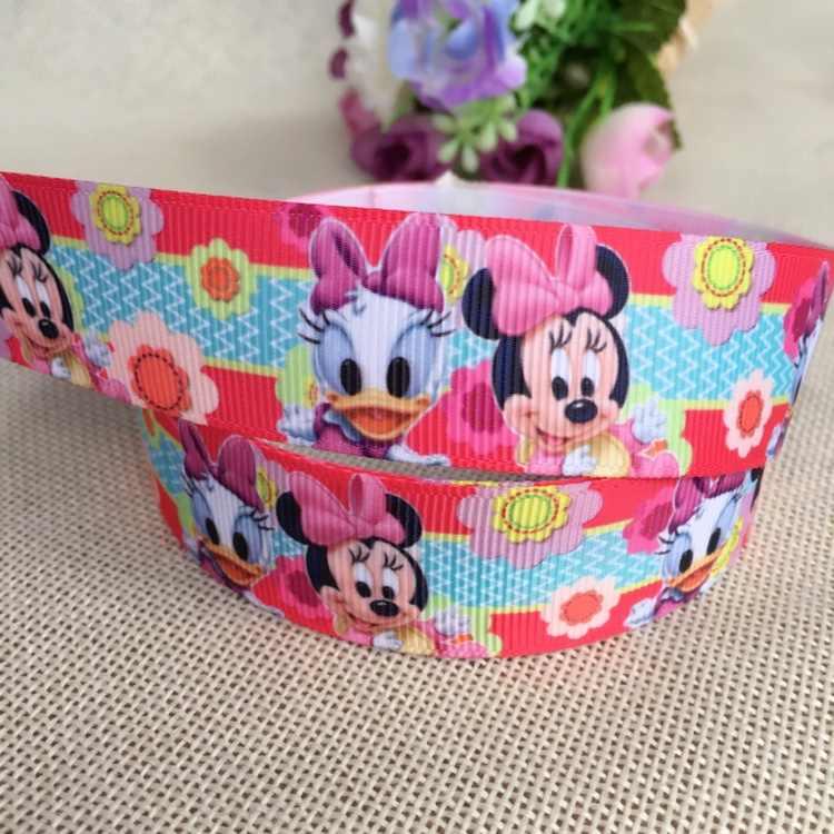 "1 ""25MM new sales 10 yard slove Minnie cartoon animals printed grosgrain ribbon cartoon ribbons cloth tape hair accessories"