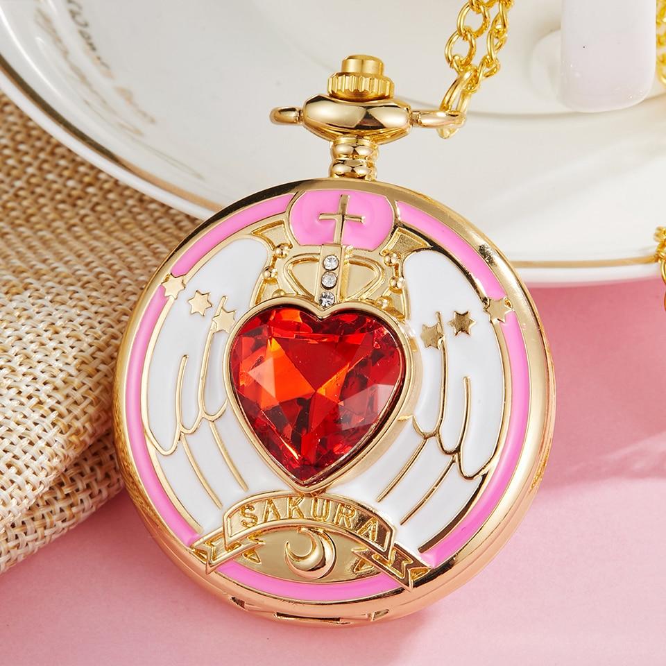Pocket & Fob Watches Luxury Magic Rhinestone Sakura Quartz Pocket Watch With Gold Necklace Pendant Chain Cosplay Gifts For Girls Student Women Kids