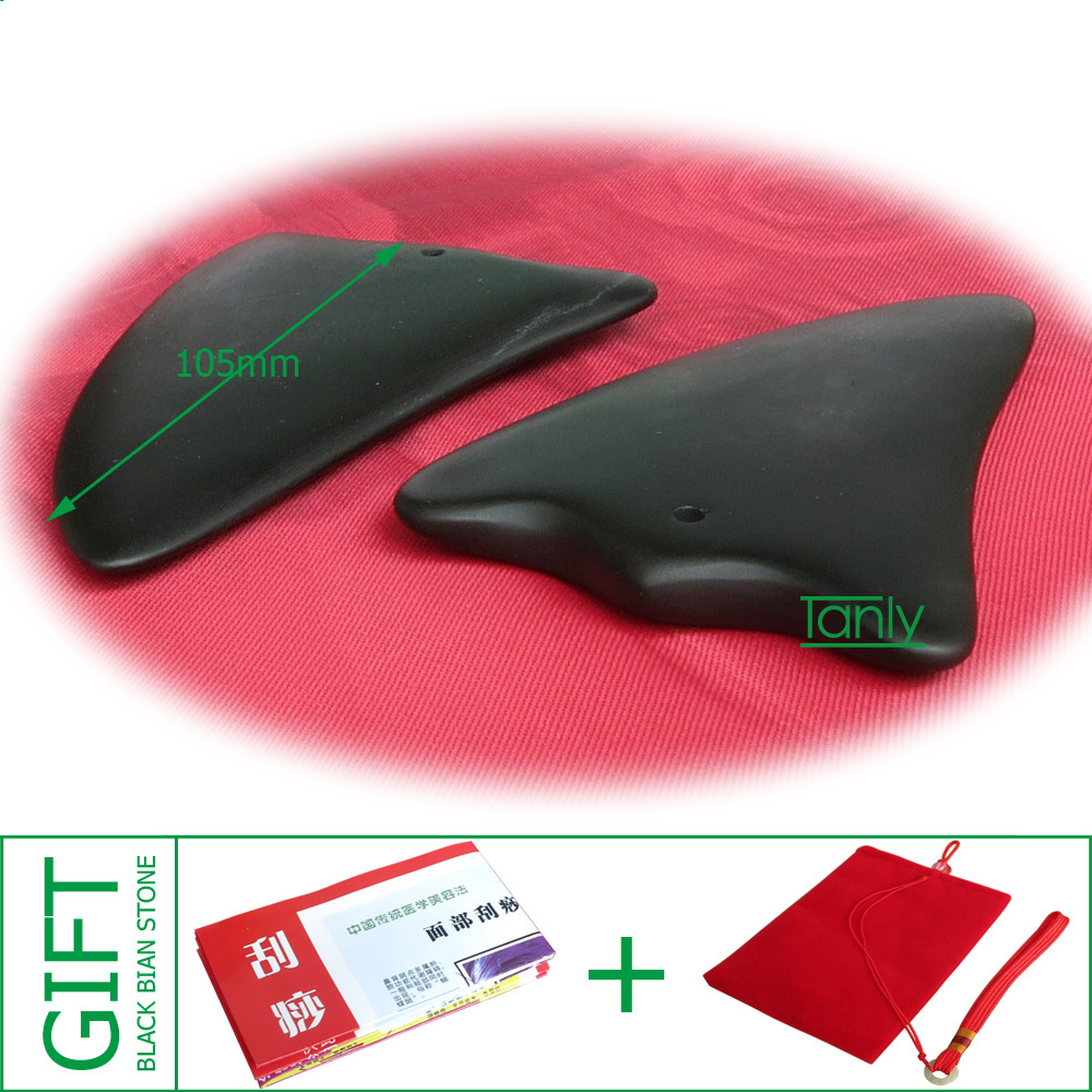 High quality! Wholesale Traditional Acupuncture Massage Tool Bian stone Guasha beauty face Board gift bag&chart triangle shape hot very good quality wholesale traditional massage tool guasha board 100