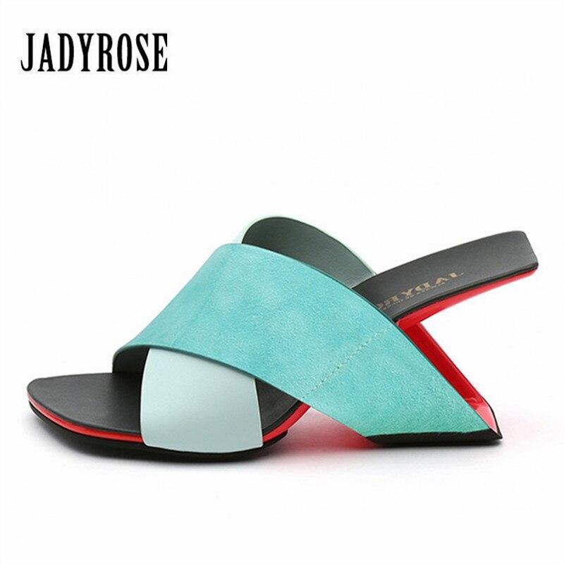 Jady ローズファッション女性スリッパ夏のサンダル 8 センチメートル高ヒールスリッパグラディエーターサンダルくさびの靴の女性カジュアルスライド  グループ上の 靴 からの ハイヒール の中 1