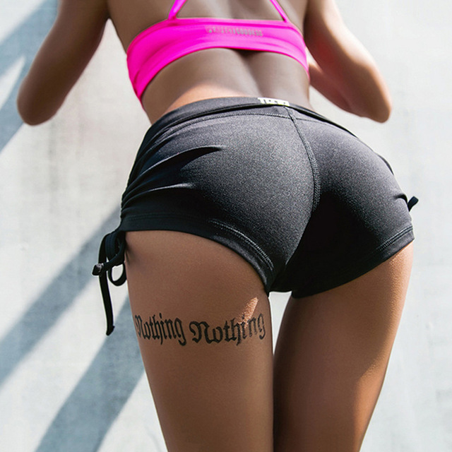 Hot Sale Womens Sexy Yoga Shorts With Adjustable Ties -9011