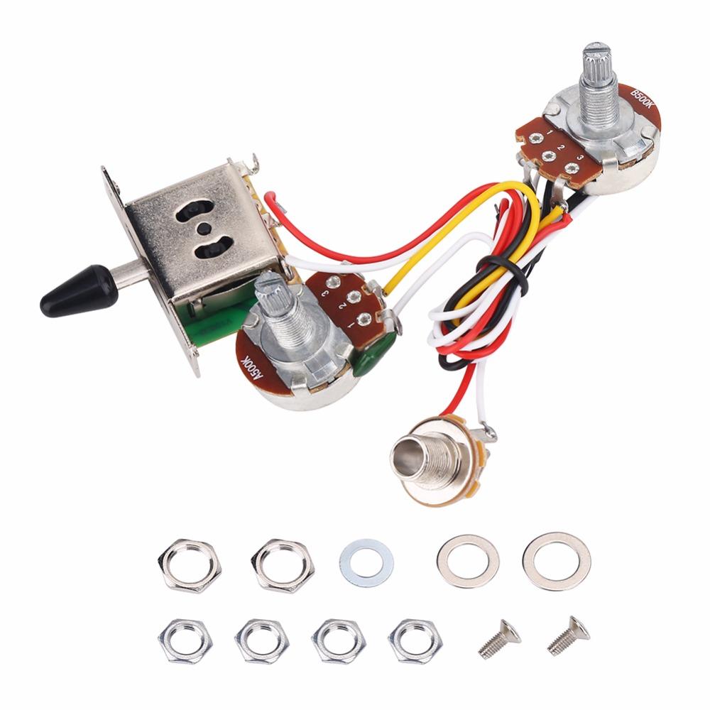 Electric Guitar Wiring Harness Kit 3 Way Toggle Switch 1 Volume A On A500k For Bass Push Pull