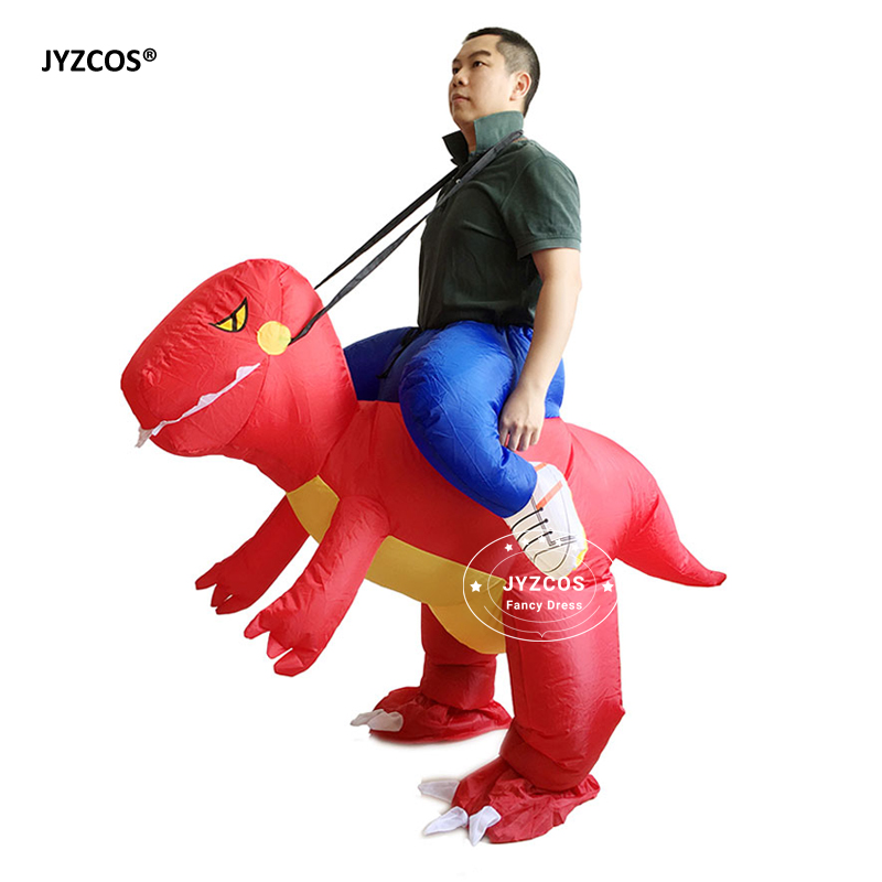 JYZCOS Man Riding inflatable T-rex Dinasour Costume Fan Operated Costumes Halloween Party Fancy Dress Animal Costume for Adults (5)