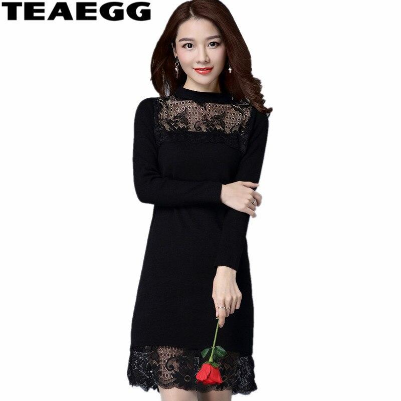 TEAEGG robe noire élégante dentelle Vestido De Invierno 2019 robe en cachemire femmes vêtements automne dames robes Slim AL627