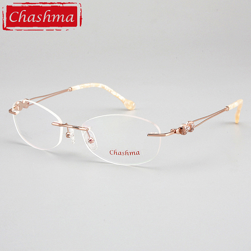 Prescription Glasses Designer Rimless Frames Female Quality Fashion Eyeglasses Spectalces Optical Eyewear Women Clear Lenses(China)