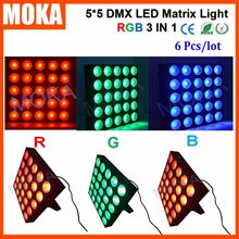 6PCS/LOT 5X5 25 Heads Stage Matrix Light 30Wx25 Led RGB 3 IN 1 Matrix Show Christmas Disco Light Projector(China)