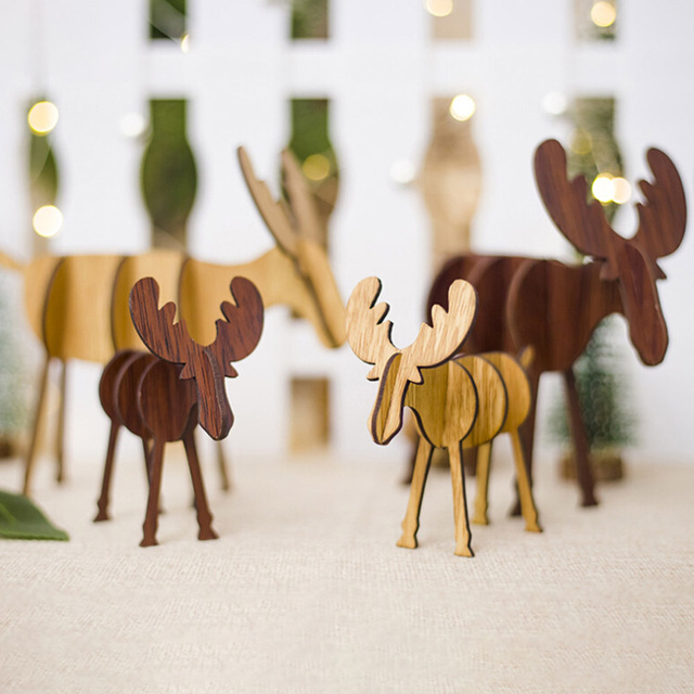 4pcs Diy Wooden Elk Christmas Decoration Drop Ornaments Children S